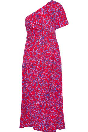 CAROLINA HERRERA One-shoulder floral-print silk-blend seersucker midi dress