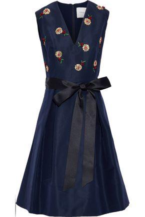 CAROLINA HERRERA Bow-detailed embellished silk-faille dress