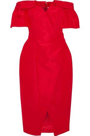 CAROLINA HERRERA Off-the-shoulder wrap-effect silk-faille dress
