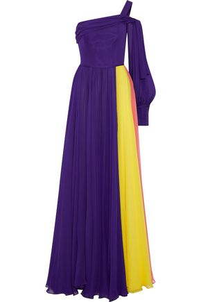 CAROLINA HERRERA One-shoulder color-block silk-chiffon gown