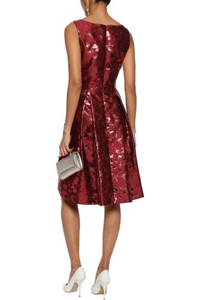 CAROLINA HERRERA Pleated brocade dress