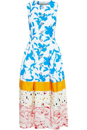 CAROLINA HERRERA Printed cotton-blend faille, satin and fil coupé poplin midi dress