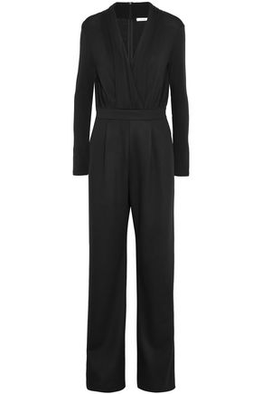 MAX MARA Arley wrap-effect stretch-wool jumpsuit