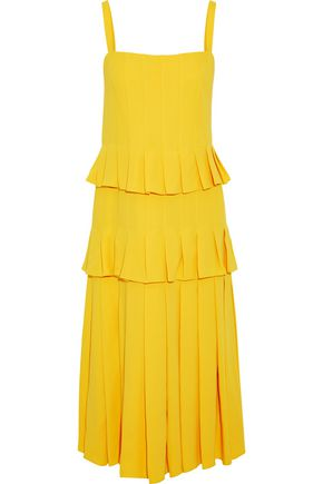 CAROLINA HERRERA Tiered pleated silk-crepe midi dress