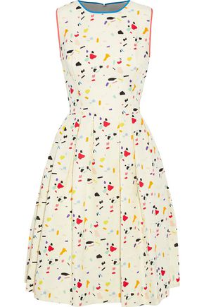 CAROLINA HERRERA Pleated printed cotton-blend dress