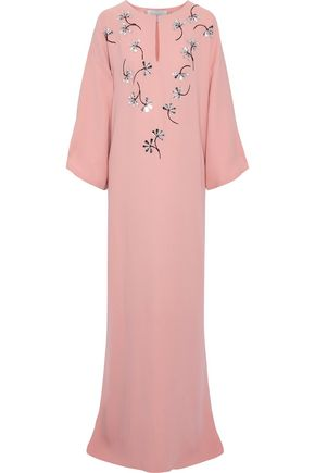CAROLINA HERRERA Embellished silk crepe de chine gown