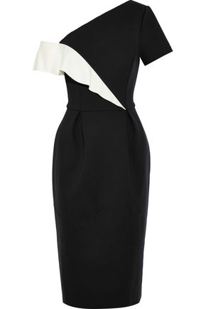 CAROLINA HERRERA Cold-shoulder two-tone neoprene dress