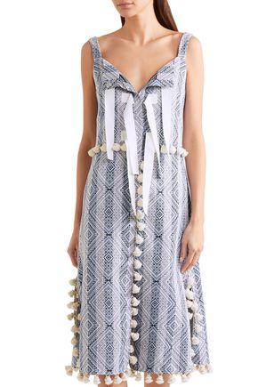 ALTUZARRA Villette tasseled cotton-blend jacquard midi dress