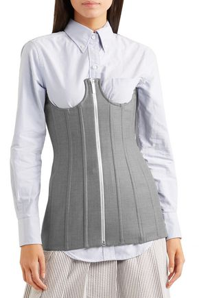 THOM BROWNE Lace-up cotton-twill bustier top