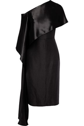 NARCISO RODRIGUEZ One-shoulder draped charmeuse-paneled silk-crepe dress