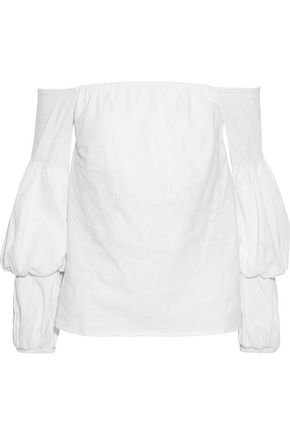 PETERSYN Lily off-the-shoulder gathered linen-blend top