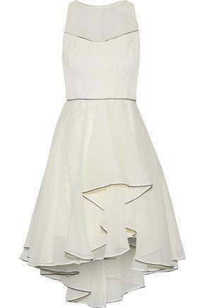 HALSTON HERITAGE Ruffled embroidered organza mini dress