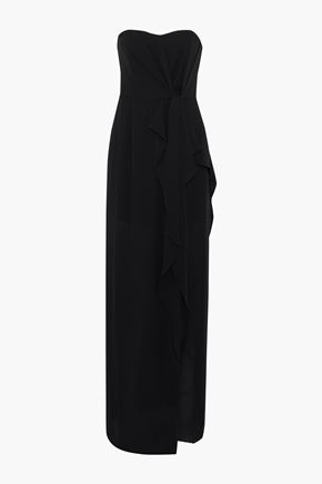 HALSTON HERITAGE Strapless gathered crepe de chine gown