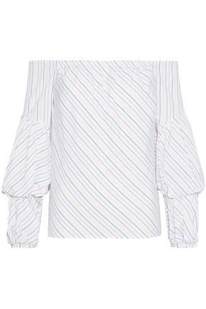 PETERSYN Lily off-the-shoulder striped cotton-poplin top