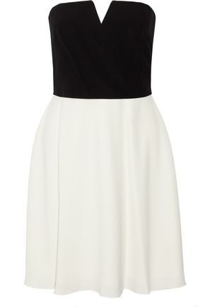 HALSTON HERITAGE Strapless two-tone cady mini dress