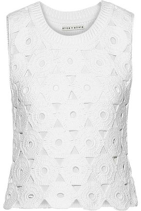 ALICE + OLIVIA Reva crocheted cotton-blend top