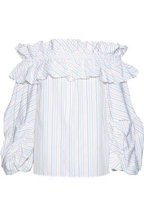 PETERSYN Bowie off-the-shoulder ruffled pinstriped cotton-poplin blouse