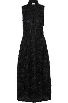 CO Belted embroidered cotton midi dress