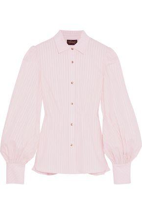 PETERSYN Waverly metallic striped cotton-poplin peplum shirt