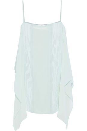 ROBERTO CAVALLI Moire-paneled draped silk-chiffon camisole