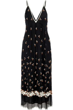 ANTIK BATIK Tahira bead-embellished georgette maxi slip dress