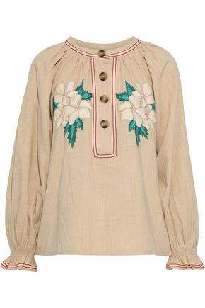 Zahid Embroidered Cotton Gauze Blouse by Antik Batik