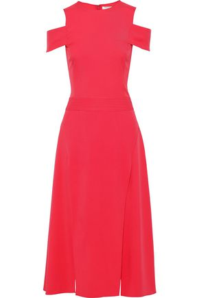 HALSTON HERITAGE Cold-shoulder crepe midi dress