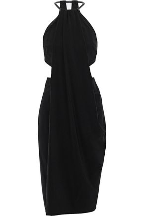 HALSTON HERITAGE Cutout stretch-crepe dress
