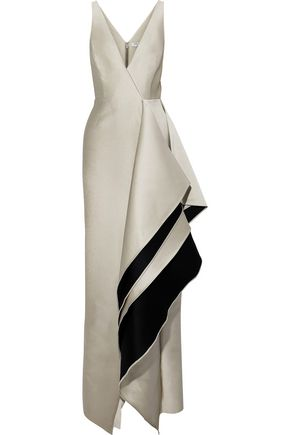 HALSTON HERITAGE Draped two-tone duchesse-satin gown