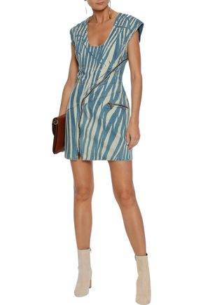 ROBERTO CAVALLI Zebra-print denim mini dress
