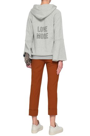 A.L.C. Printed mélange French cotton-terry hoodie