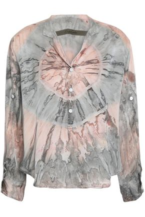 ENZA COSTA Tie-dyed satin-twill top