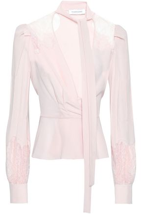 ZUHAIR MURAD Silk lace and crepe de chine-paneled blouse