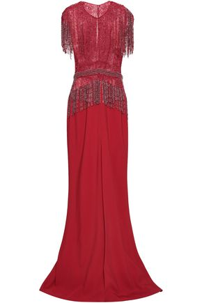 ZUHAIR MURAD Fringed silk-blend tulle and crepe gown