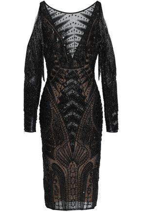ZUHAIR MURAD Cold-shoulder embellished silk-blend tulle dress