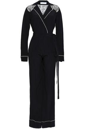 ZUHAIR MURAD Lace-paneled silk-crepe jumpsuit