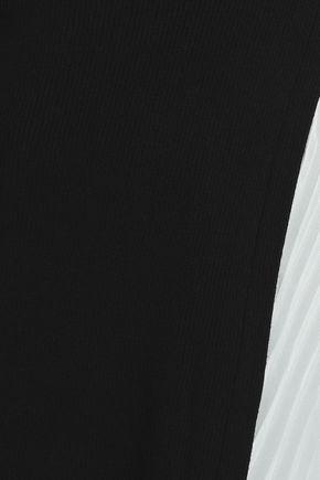 VIONNET Rib-paneled wool and silk-blend turtleneck top