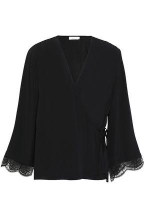 A.L.C. Riona lace-trimmed silk-crepe  wrap top