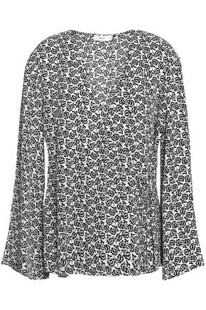 A.L.C. Ray printed silk-crepe wrap top