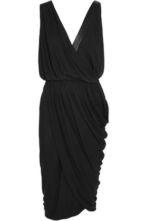 MICHAEL KORS COLLECTION Wrap-effect leather-trimmed stretch-crepe dress