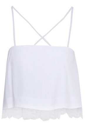 A.L.C. Bassett cropped guipure lace-trimmed cotton-poplin top