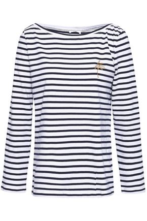 A.L.C. Mila embroidered striped cotton-jersey top