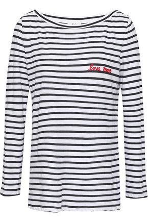 A.L.C. Embroidered striped cotton-jersey top