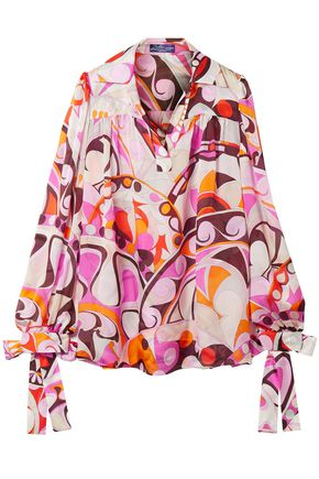 EMILIO PUCCI Bow-detailed printed silk crepe de chine blouse