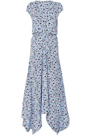 MARNI Embellished printed silk crepe de chine maxi dress