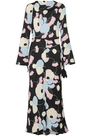 MARNI Embellished printed silk crepe dmaxi dress
