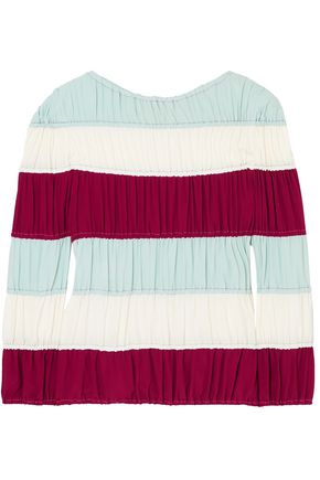 MARNI Shirred striped crepe de chine top