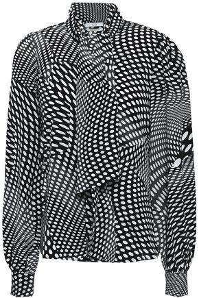 CO Polka-dot silk crepe de chine blouse