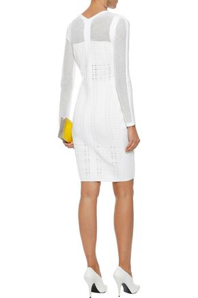 NARCISO RODRIGUEZ Paneled open-knit wool-blend dress