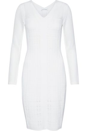 NARCISO RODRIGUEZ Paneled open-knit wool-blend dress